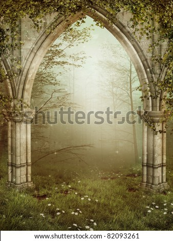 Old gothic ruins with ivy - stock photo
