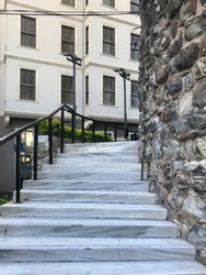 Old Gothic style Architectural building marble Stairs perspective angles Stone Building displays wonderful interesting background buying now.
