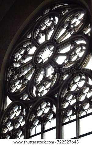 Old Gothic Style Window With Round Part And Patterns 722527645