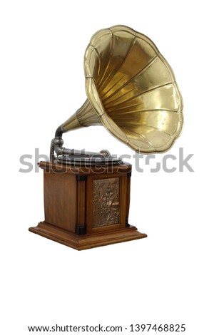 Old gramophone isolated on a white background #1397468825