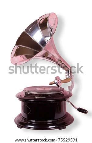 Old gramophone isolated on the white with clipping path