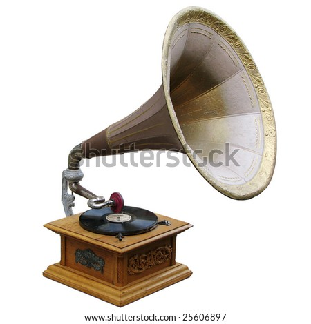 old gramophone isolated on white
