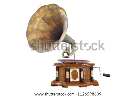 Old gramophone isolated on white background #1126598609