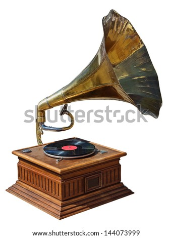 old gramophone isolated on white background #144073999