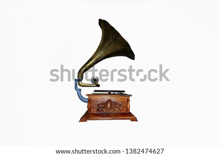 Old gramophone on a white background #1382474627