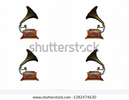 Old gramophone on a white background #1382474630