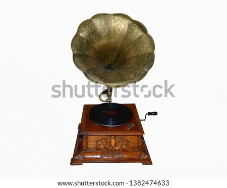 Old gramophone on a white background #1382474633