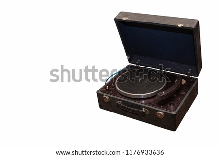 Old gramophone on white background #1376933636
