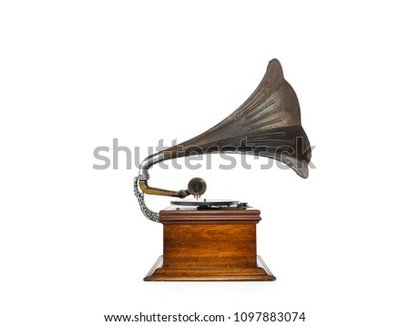 old gramophone white background #1097883074