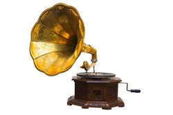 Old gramophone with plate or vinyl disk on wooden box isolated on white background. Antique brass record player.Gramophone with horn speaker. Retro entertainment concept.Gramophone is an Music device.