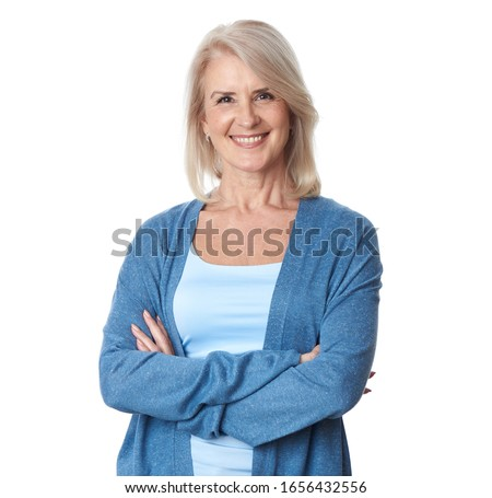 old granny. Portrait of beautiful older woman smiling. Isolated. Happy senior lady