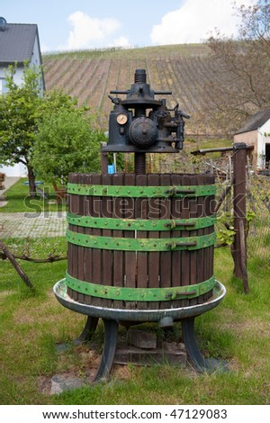Old grape press in Rhineland near the Moselle river