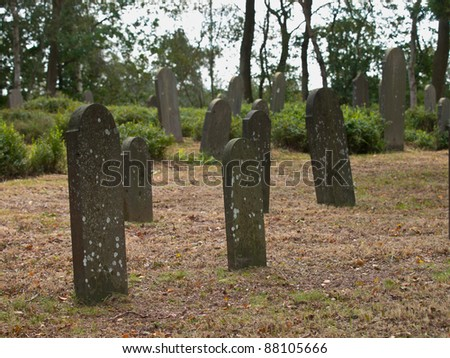 Old graves on a jewish graveyard