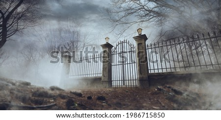 Old graveyard fence on a foggy day. 3D Rendering, illustration Stockfoto ©