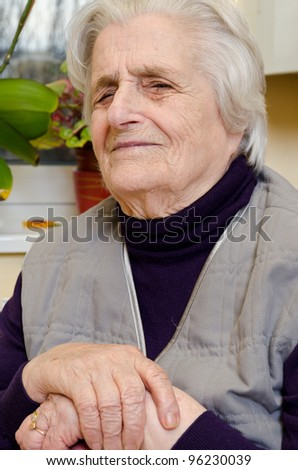 Old gray-haired woman