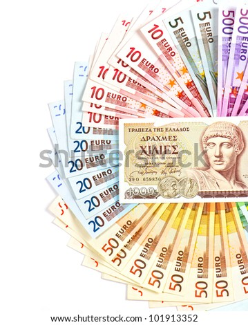 old greek drachma and euro cash notes. euro currency crisis concept