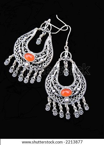 Old Greek silver earrings with amber