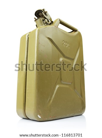 Old green canister of gasoline on white background. File contains a path to isolation.