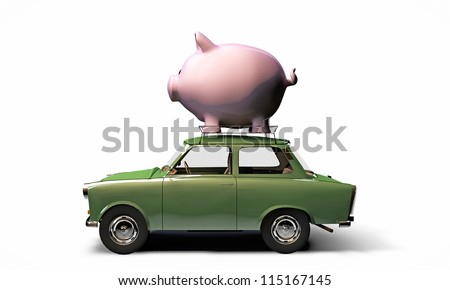 old green car transporting a big piggy bank on top isolated on white background