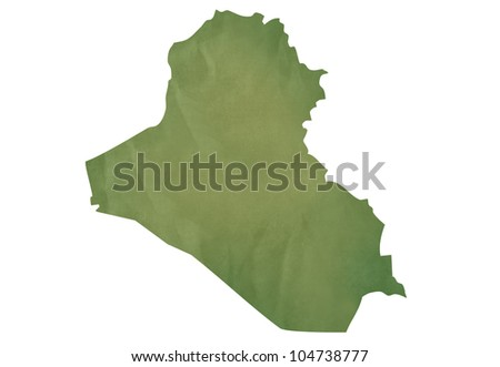 Old green map of Iraq in textured green paper, isolated on white background.