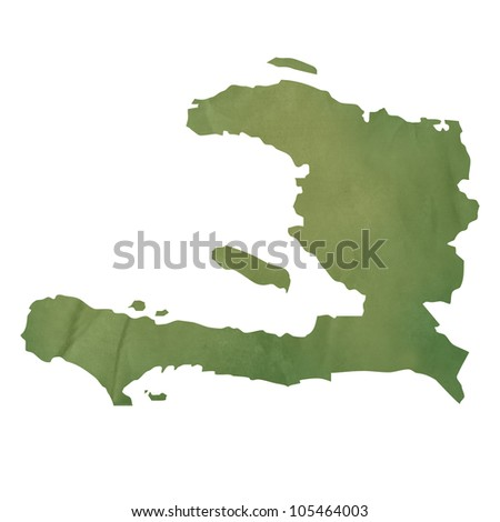 Old green paper map of Haiti isolated on white background