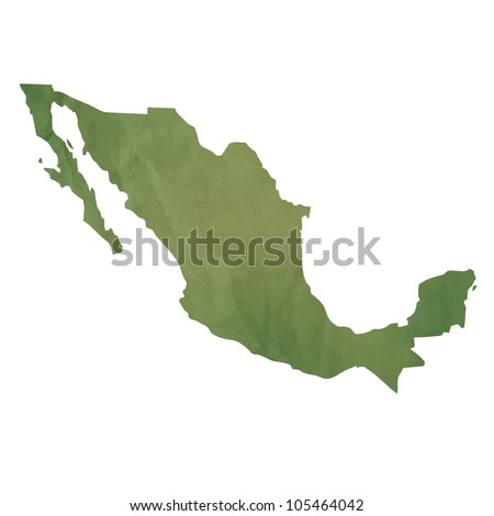 Old green paper map of Mexico isolated on white background
