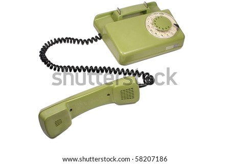 old green phone isolated on white background