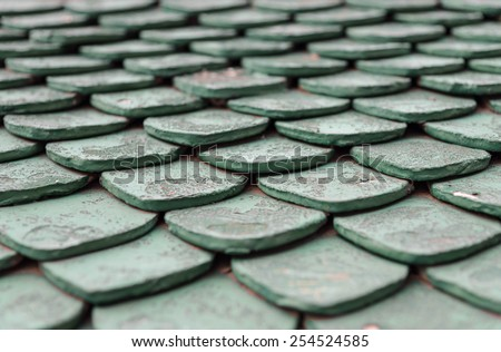 Old green roof tiles
