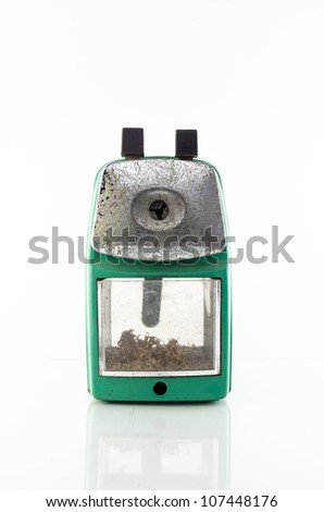 old green sharpener isolated on white background