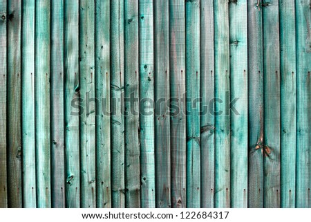 Old Green slatted Wood garden or house Fence