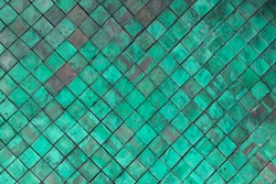 Old Green Terracotta tiles wall for texture and background