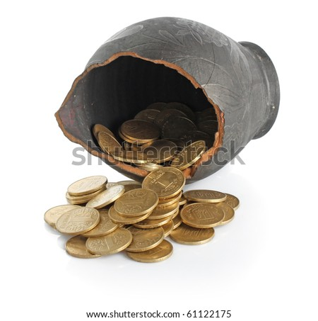 Old Grees  black broken amphora with golden coins on white background