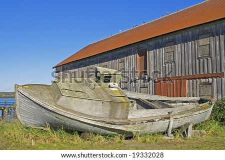 old grounded wooden ship
