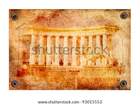 Old grunge antique paper texture of Greek colonnade pattern attached with nails on a white background