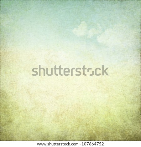 old grunge background with delicate abstract canvas texture and blue sky view