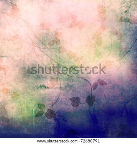 Old grunge background with drawing leaves
