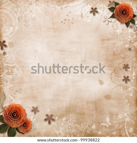 old grunge background with roses