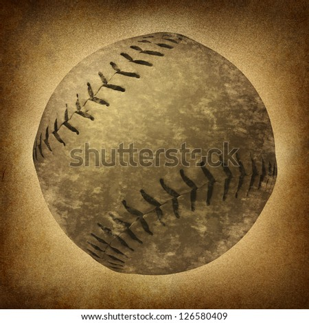 Old grunge baseball or softball as a vintage sports symbol on a dirty parchment background as an American cultural and traditional national pastime sport with a sphere made of leather and stitching.