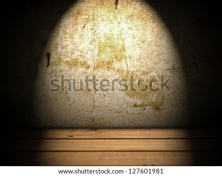 old grunge basement wall with wooden floor