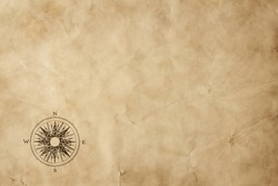 Old grunge blank paper sheet with compass rose