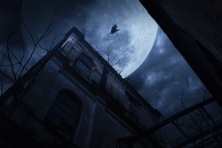 Old grunge building with bird and dead tree at night over cloudy sky and the moon behind, mysterious background