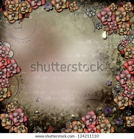 Old grunge decorative background with flowers and pearls