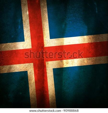 Old grunge flag of Iceland