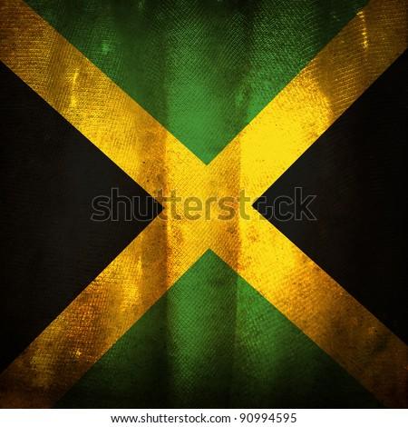 Old grunge flag of Jamaica - stock photo