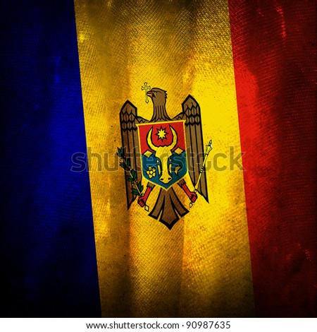 Old grunge flag of Moldova