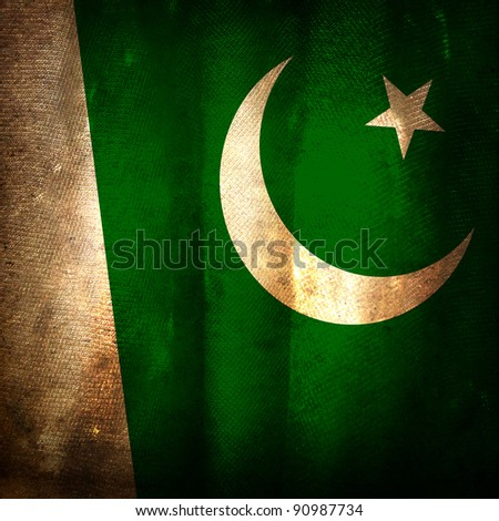 Old grunge flag of Pakistan
