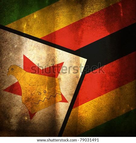 Old grunge flag of Zimbabwe