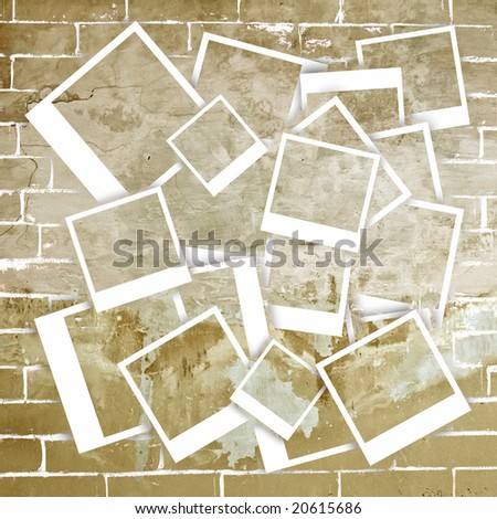 Old grunge looking photo frames with grunge background.