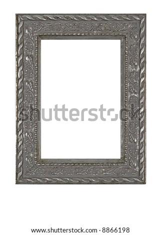 Old grunge metallic photo frame - isolated on white background