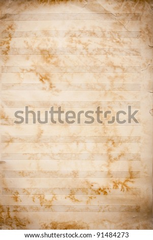 Old grunge music sheet texture. Great for music background.